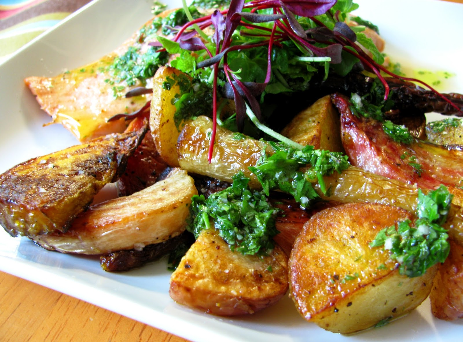 Marinated Roast Veg and Roast Potatoes